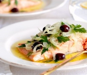 Salmon poached in EVO with Fennel & Olive Salad